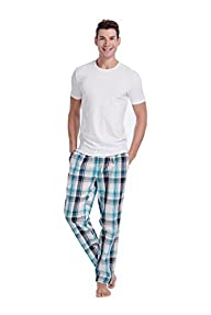 CYZ Men's Cotton Pajama Pants Woven Plaid Sleep Lounge Pants