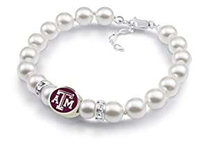 Texas A&M Aggies White Pearl Bracelet Jewelry. Officially Licensed High Quality by Collegiate Beads