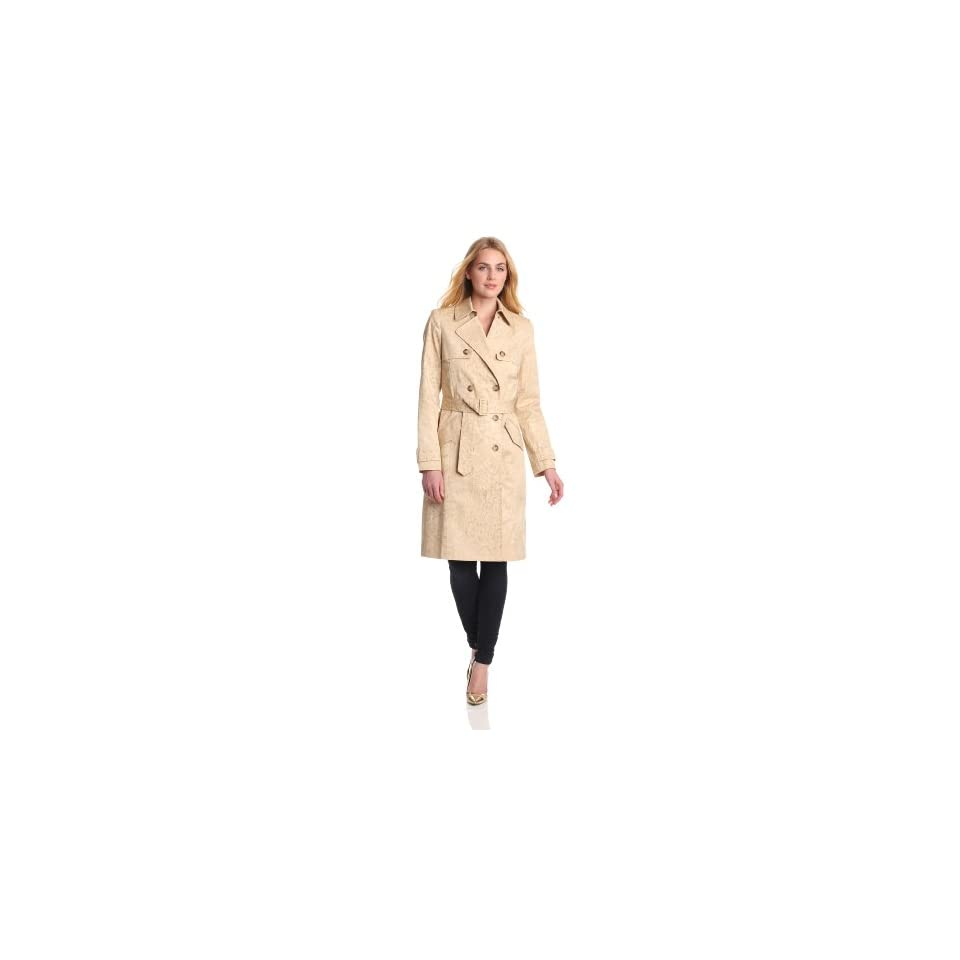 Anne Klein Womens Tonal Print Trench Coat