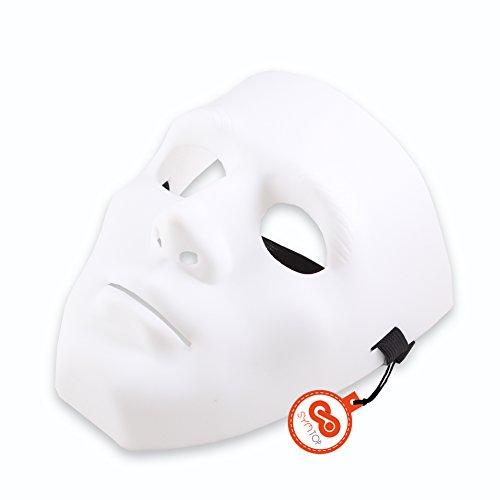 [White Hiphop Jabbawockeez Masquerade Mask Cosplay Costume Party Mask] (Plain White Mask Costume)