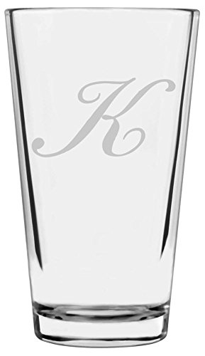 Bix Script Etched Monogram All Purpose 16oz Libbey Pint Glass (Letter K) (Monogram Beer Glasses compare prices)