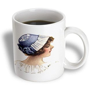 Sandy Mertens Vintage Women - Victorian Lady With Blue Bonnet Bonnet - 11Oz Mug (Mug_6284_1)