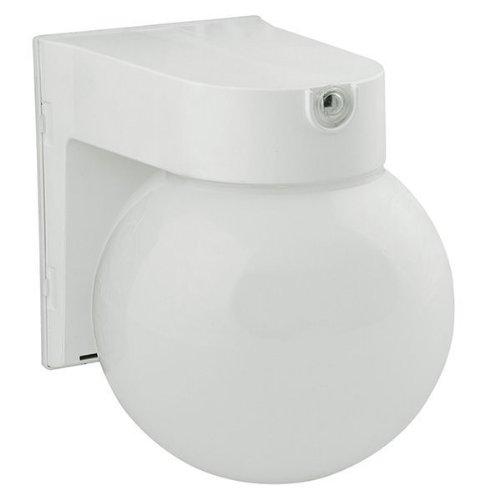 12 Watt - Led Security Globe Fixture With Sensor - 4000K Cool White - 120 Volt - White Finish - Plt Led-Slr12Wh