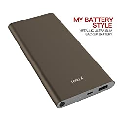 iWALK Ultra Slim Power Bank 10000mAh,2X Quick Charge Power Bank with Qualcomm QC2.0 Technology, Metallic Shell Cell phone External Battery Pack Charger, Grey