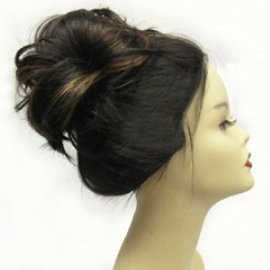 Clip-on hairpiece extension ponytail w/bendable wires blonde mix