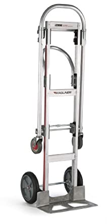 "Magline GMK81UAB Aluminum Gemini Sr Convertible Hand Truck, U Loop Handle, Cushion Wheels, 500lbs Capacity, 61"" Height, 55-3/4"" Length x 21"" Width"