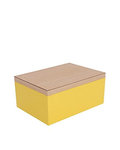 Wolf Designs Large Lacquer Wood Jewelry Box, Yellow