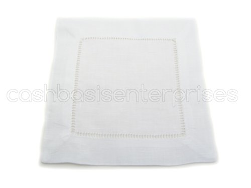 Checkout 12 Cleverdelights White Hemstitch Cocktail Napkins - 6