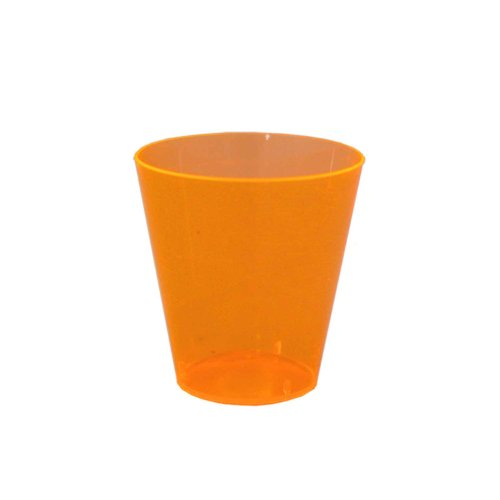 Party Essentials Hard Plastic 2-Ounce Shot/Shooter Glasses, Neon Orange, 50 Count
