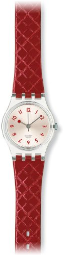 Swatch Ladies Strawberry Jam Red Leather Strap Watch