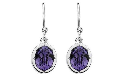 Elements Sterling Silver Ladies' E4041M Tanzanite Swarovski Crystal Oval Drop Earrings Of Length 2.3 cm