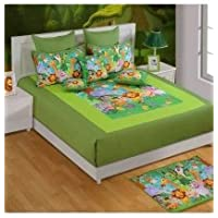 Swayam Kids N More Digital Print Mercerised Cotton Double Baby Bedsheet With 2 Pillow Covers - Multicolor (DKB01...