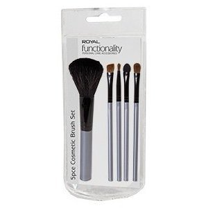 5 piece Cosmetic Brush Set to include one each of powder brush,eye shadow brush,angled brush,liner brush and applicator