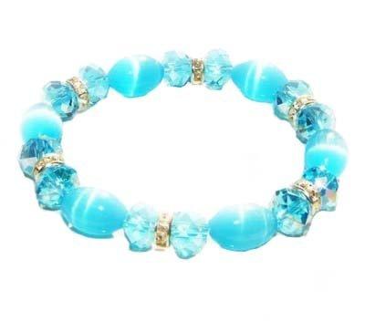 Hidden Gems (CRB730) - Cats Eye Stretch Bracelet With Blue Crystal