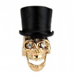 Jewellery Chic Boutique Vintage Gold Top Hat Quirky Skull Skeleton Punk Gothic Adjustable Ring + Gift Bag