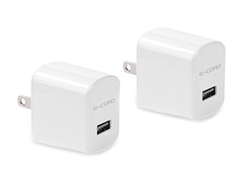 G-Cord 2 Packs 2.1A Universal USB Travel Wall Charger AC Power Adapter High Speed Fast Charging for Smartphones and Tablets (White) (Gopro Hero3 Power Cord compare prices)