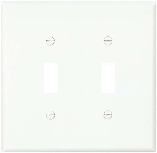 Cooper Wiring Devices Pj2W-Sp-L Polycarbonate 2-Gang Toggle Switch Mid Size Wall Plate, White