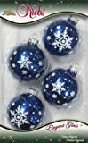 "Dark Blue Glitter 2 5/8"" Baubles with White Snowflake Motive"