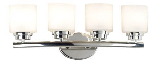 Black friday Kenroy Home 3393 Bow Four-Light Vanity, Polished Nickel with White Globes Cyber ...