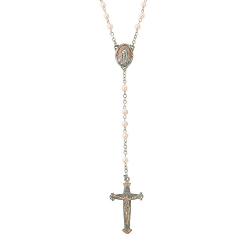 Vatican Rose Gold And Silver Tone With Pink Pearls Rosary