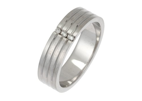 Trilogy Diamond Wedding Ring, 9 Carat Matte  &  Polished White Gold, 5mm Band Width