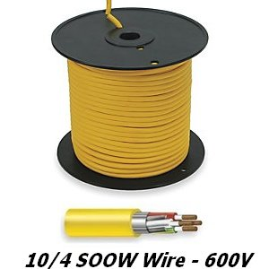 10/4 Wire Cord, 30A/600V, 4 Wire, Soow, 50 Foot, Outdoor Rated, Stranded Copper, Yellow Rubber Jacket