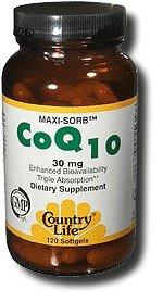 Country Life Maxi-Sorb Coq10 Q-Gel, 30 Mg, 120-Count
