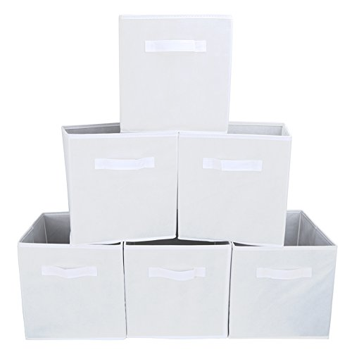 Set of 6 Foldable Fabric Basket Bin- EZOWare Collapsible Storage Cube For Nursery Home and Office – Ivory