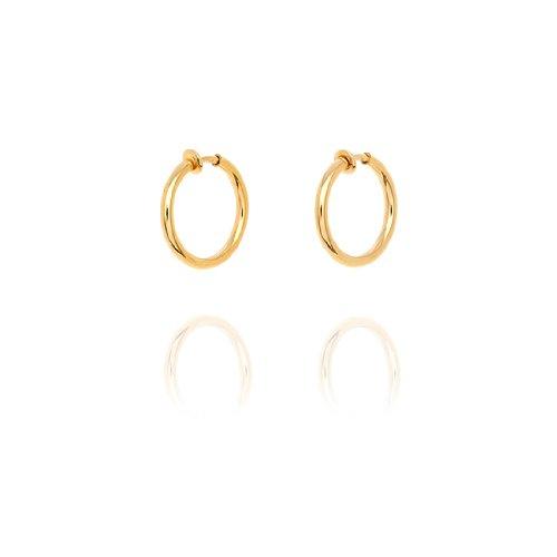 Chunky Creole Hoop Clip On Earrings - 2.6cm - Gold
