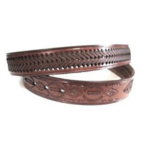 Western Rodeo Basket Weave Thick Cowhide Leather Belt Tooled and Braided (34)