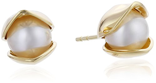 House-of-Eleonore-Paradise-18k-Yellow-Gold-Orchid-Plain-Pearl-Stud-Earrings