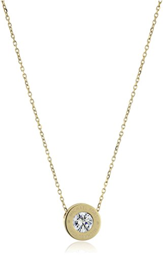 """Michael Kors """"Logo"""" Gold-Tone and Crystal Pendant Necklace"""