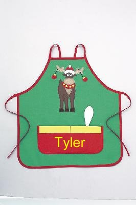 Mullins Square Christmas Reindeer Personalized Children's Christmas Apron with Spoon