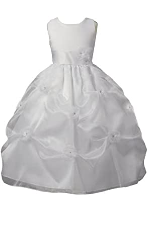 KID Collection Girls White Flower Girl Communion Dress Size 12