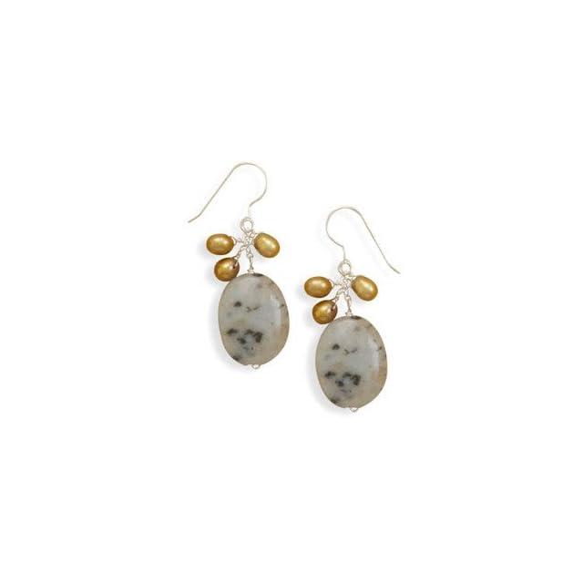 Kiwi Jasper, Tan Firecracker Pearl, and Sterling Silver Earrings, Made in the USA Jewelry