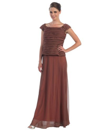 Fine Brand Shop Ladies Brown Shingled Evening Dress - XX-Large