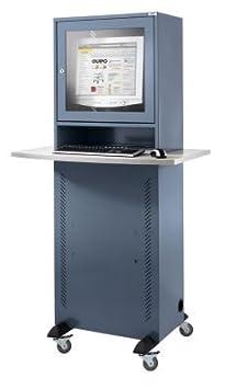 QUIPO Armoire pour ordinateur - avec plateau en mélaminé gris bleu - armoire informatique armoire pour ordinateur armoires informatiques armoires pour ordinateur meubles informatiques mobilier informatique poste de travail informatique poste