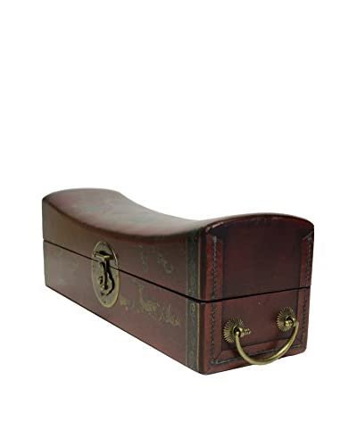 Asian Loft Leather & Brass Pillow Box, Red/Gold/Black