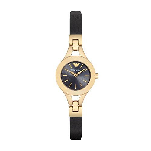 Emporio Armani AR7405 - Reloj de cuarzo con correa de cuero para mujer, color negro