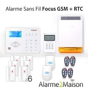 Focus - Alarme Maison sans fil Focus GSM + RTC 5 - 6 Pièces