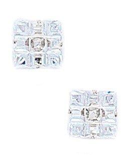 14k White Gold 8x8mm 9 Segment Square CZ Light Prong Set Earrings - JewelryWeb