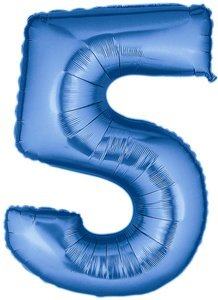 "Grabo A Giant Jumbo 40 ""foil Balloon Number 5 - Flat In Blue"
