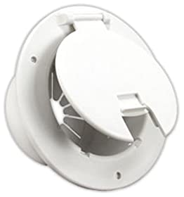 JR Products 541-2-A Polar White Deluxe Round Electric Cable Hatch with Back