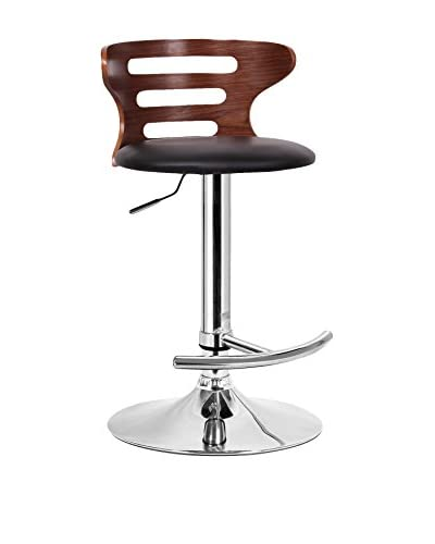Baxton Studio Buell Bar Stool, Walnut/Black