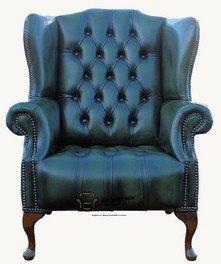 Chesterfield Mallory botones asiento plano Wing Queen Anne de espalda alta Wing silla fabricado en Reino Unido en la parte superior del verde