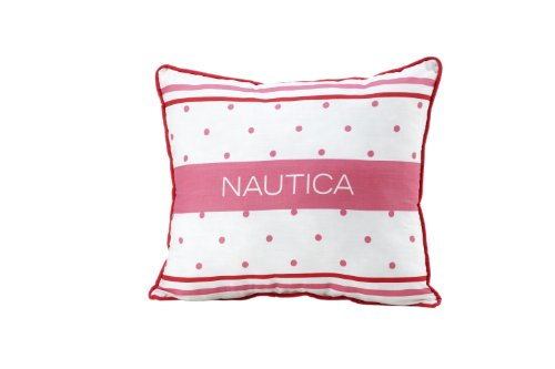 Nautica Kids Melanie Polka Dot/Stripe Pillow, Pink/White (Discontinued by Manufacturer)