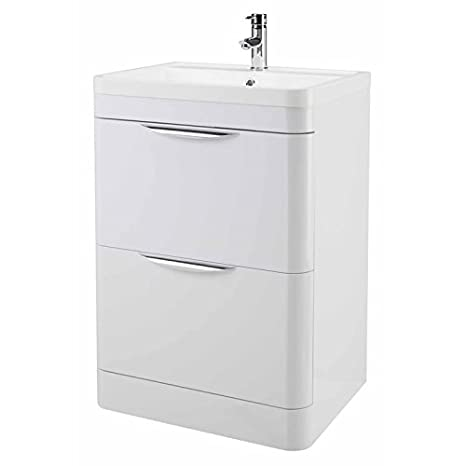 March 600 Floor Standing Two Drawer Bathroom Basin Sink and Storage Cabinet Drawer Unit High Gloss White