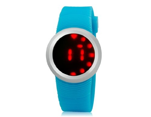 Onceall G1218 Ultra-Slim Round Dial Led Watch With Silicone Strap (Blue) M.