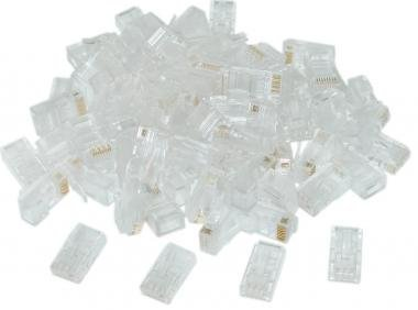 RJ45 CAT-5 E (8P8C) Crimp Connector solid, (100 Pcs Per Bag)