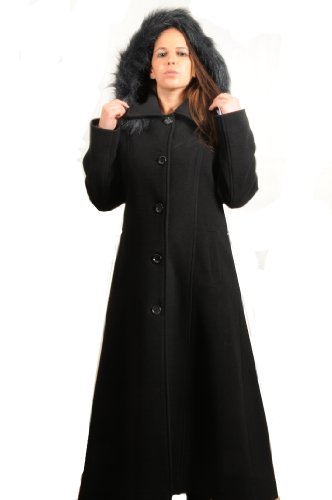 BLACK WOOL WOMENS FAUX FUR TRIM HOODED LONG COAT SIZE 12 - 26 (14)